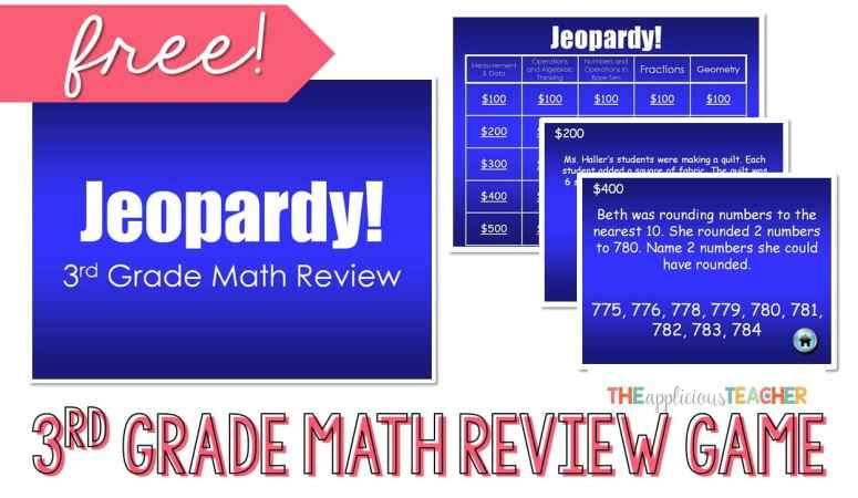 3rd Grade Math Review Jeopardy PowerPoint FREEBIE
