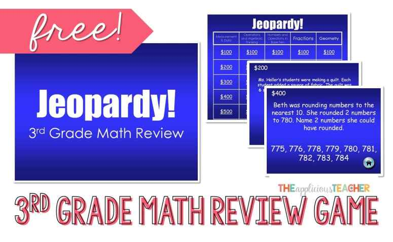3Rd Grade Math Review Jeopardy Powerpoint Freebie - The Applicious