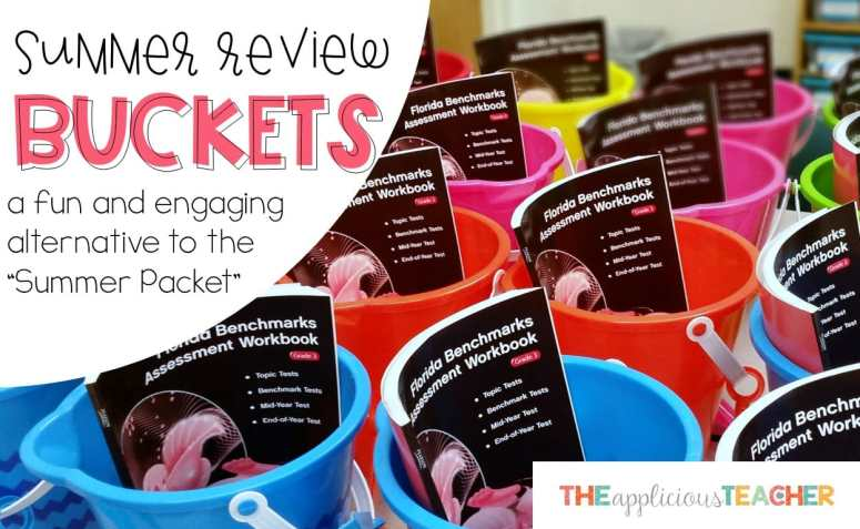 Summer Review Buckets- a perfect alternative activity to the summer review packet