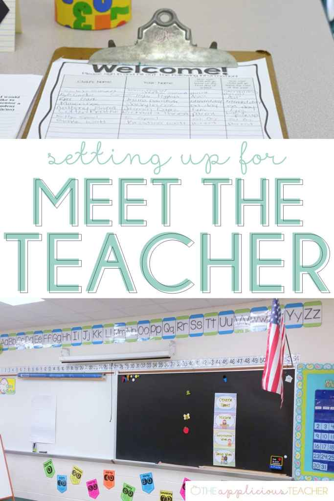 Getting ready for Meet the Teacher- Love this step by step post on how to set up for Meet the Teacher- TheApplicioiusTeacher.com #backtoschool #meettheteacher