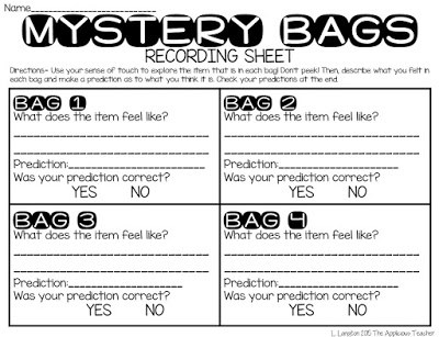 Mystery bags recording sheet