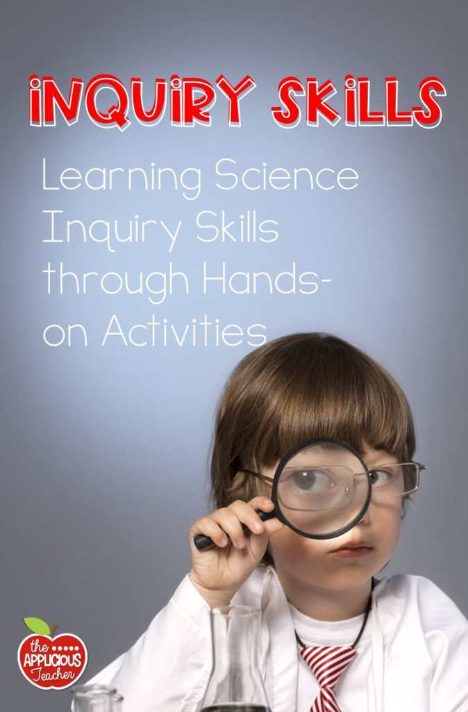 Science inquiry skills are the foundation of science exploration. This post outlines some amazingly easy ways teachers can teach their students how to use their senses when exploring in an easy and fun way! Includes tons of scientific method and science experiment freebies! TheAppliciousTeacher.com