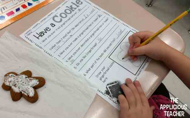Students use gingerbread cookies to read and understand graphs