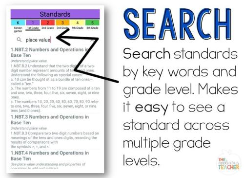 Easily search for standards using Explore the Core