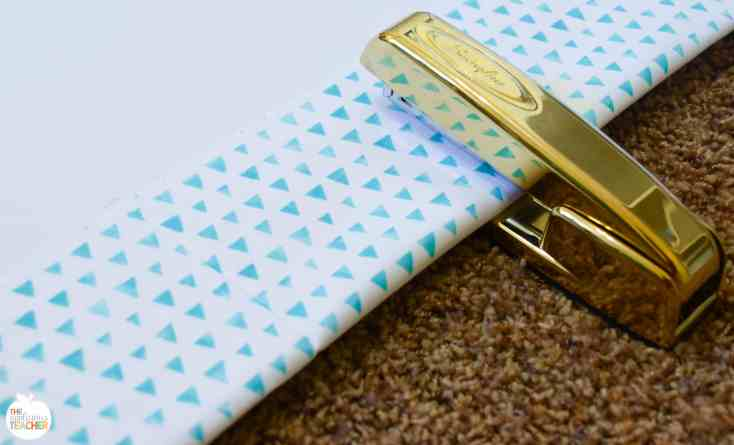 staple on fabric to secure to bulletin board