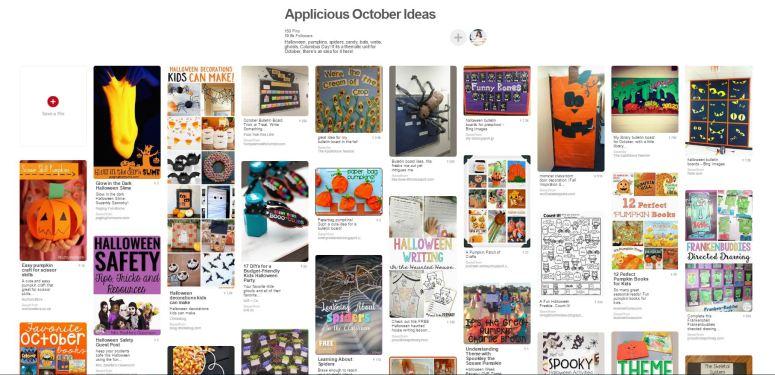 October Ideas for the classroom, Applicious Teacher Pinboard