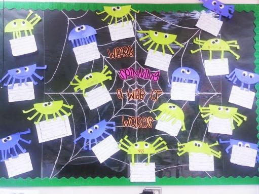 spider bulletin board with sparkle web