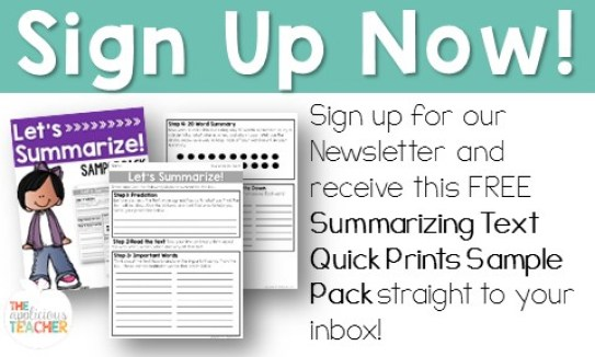 Summarizing Text Newsletter Sign Up with Free Resource
