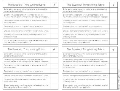 Valentine's Day writing craft rubric