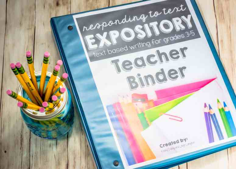 responding to text binder, text based writing curriculum for 3rd 4th and 5th grade