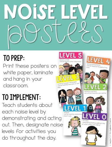 classroom noise level posters free