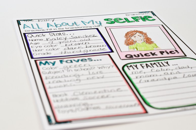 All About My Selfie brainstorm sheet- this one is perfect for big kids!
