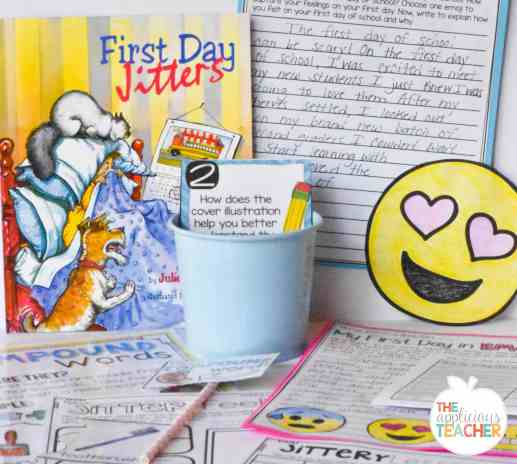 First Day Jitters Emoji writing activity and close reading activities