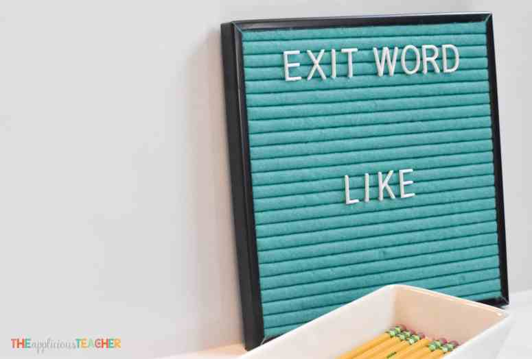 "Use your felt letter board as a ""exit slip"" for leaving the room"