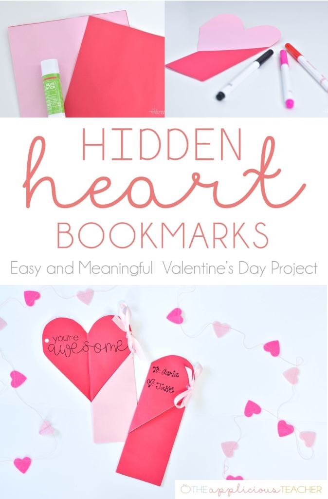 Easy Valentine's Day Craft- Hidden heart bookmarks- love this idea! Students can write a little message on the inside of the bookmark. Could also add a pencil or highlighter! TheAppliciousTeacher.com