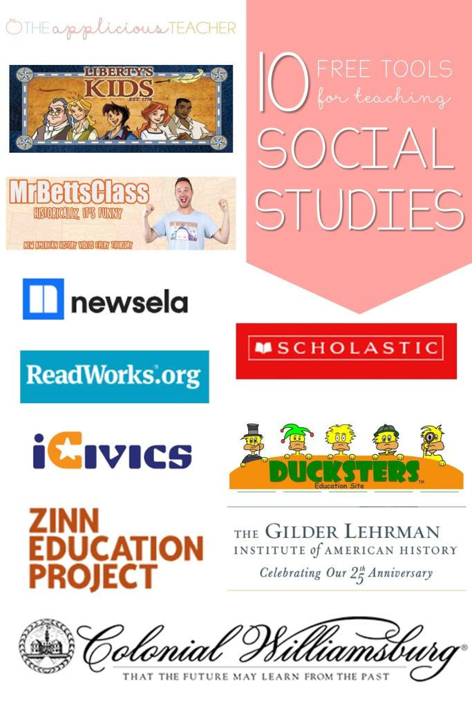 10 free social studies websites for teachers. Great list of sites to use to supplement your social studies curriculum. TheAppliciousTeacher.com #socialstudies #freeforteachers