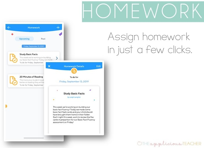 assign homework in a few clicks with the Klassroom App