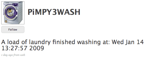 Washing machine hack tweets when it's finished.