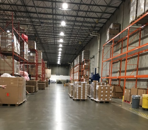 A view inside the Micros warehouse.