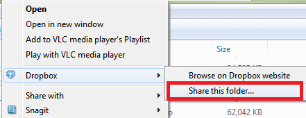 share a folder from desktop