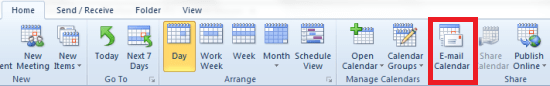 how to share outlook calendar