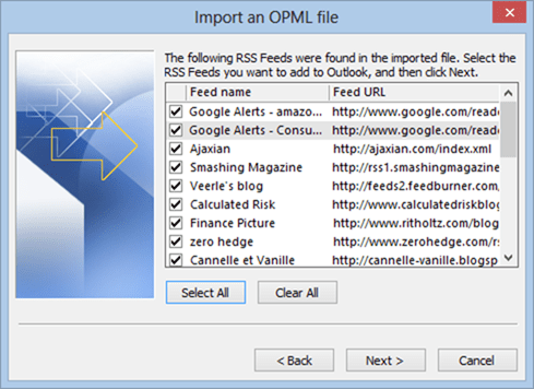 importing OPML files