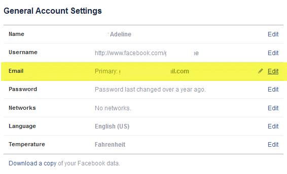 facebook email edit