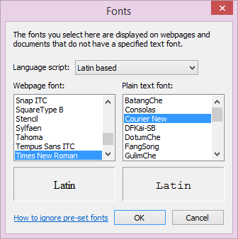 how to change fonts in ie