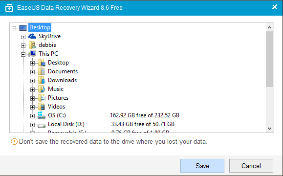 recover deleted data in easeus and save it elsewhere