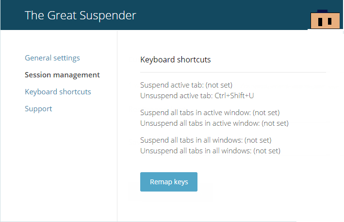 The Great Suspender keyboard shortcuts