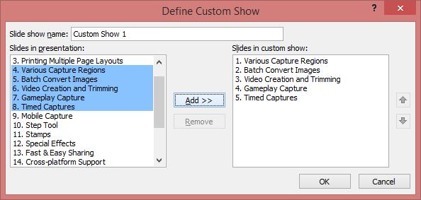 define the custom show
