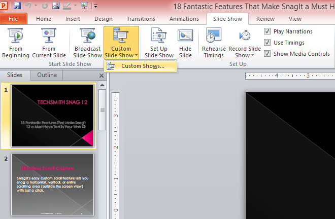 how to create a custom slide show in powerpoint