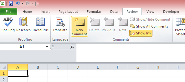 add comments to excel