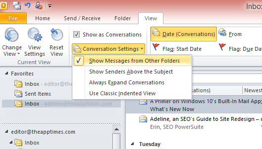 manage conversations in outlook