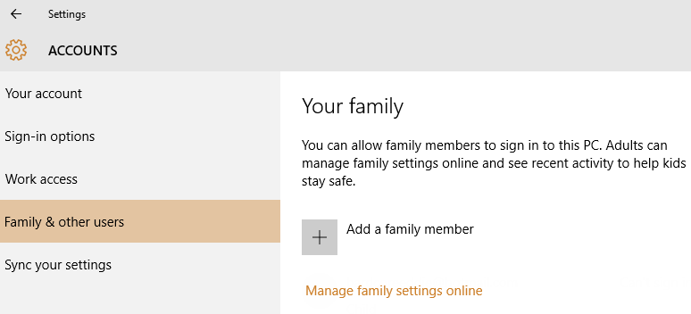 Windows 10 User Accounts - Add a family member