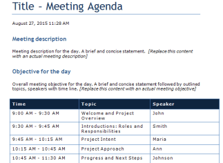 Free Meeting Agenda Template  Free User Guide Template