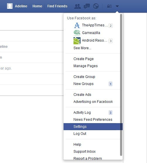 Facebook Settings Option