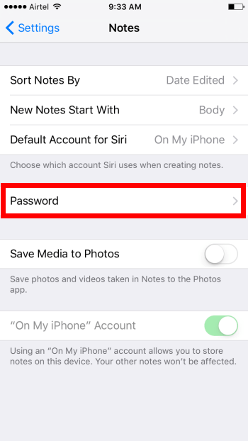 Notes with Touch ID and Password Support