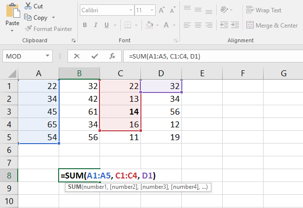 Formula with multiple arguments