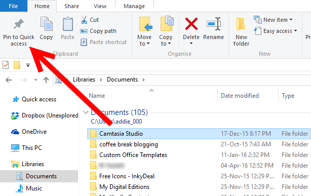 How to use Quick Access - Pin folders and libraries