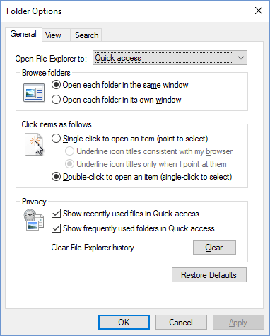Remove Recently Used Files and Folders from Quick Access