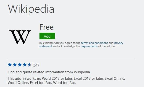Wikipedia Word Add-ins
