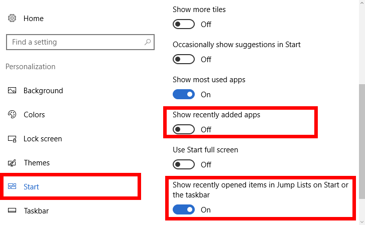 How to Turn off Show recently added apps
