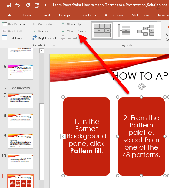 How to Move a Shape in a SmartArt Graphic