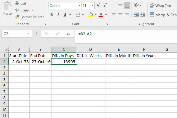How to Calculate Number of Days Between Two Dates in Excel