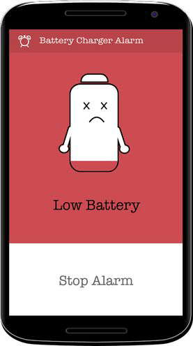 Battery Charger Alarm Low battery screen