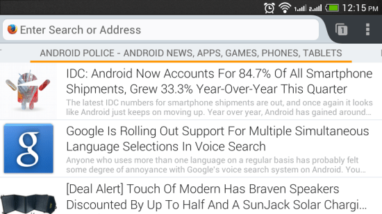 RSS feeds on Firefox for Android