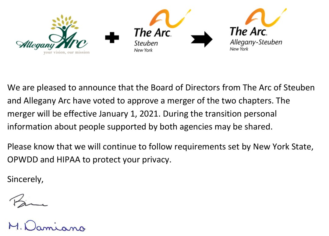 Announcement to families and people supported - The Arc Allegany-Steuben