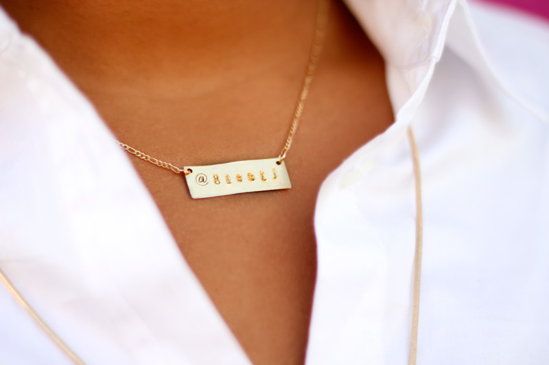 c/o TAudrey Social Media Necklace 14k filled gold plate  with my twitter handle @gissij