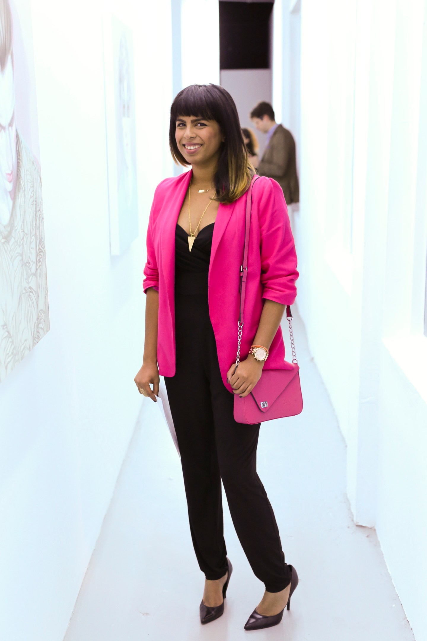 Wearing Bar iii blazer and bebe jumpsuit,  Mia Shoes MLE pumps and Gregory Silvya crossbody bag